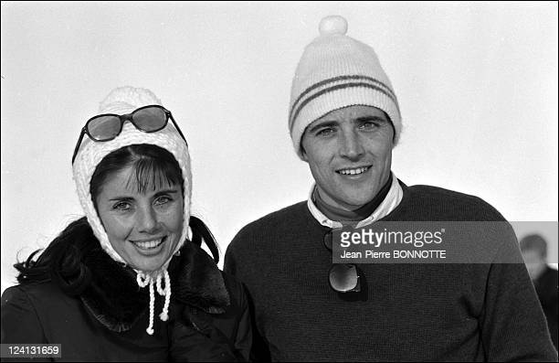 Personalities In Megeve France In January 1967 Francine and Sacha Distel