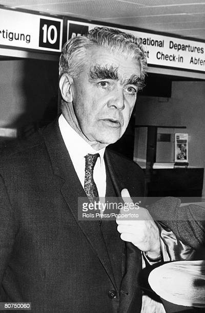 October 1967 London England George Woodcock who was General Secretary of the TUC from 19601969 pictured leaving Heathrow Airport for a European Trade...