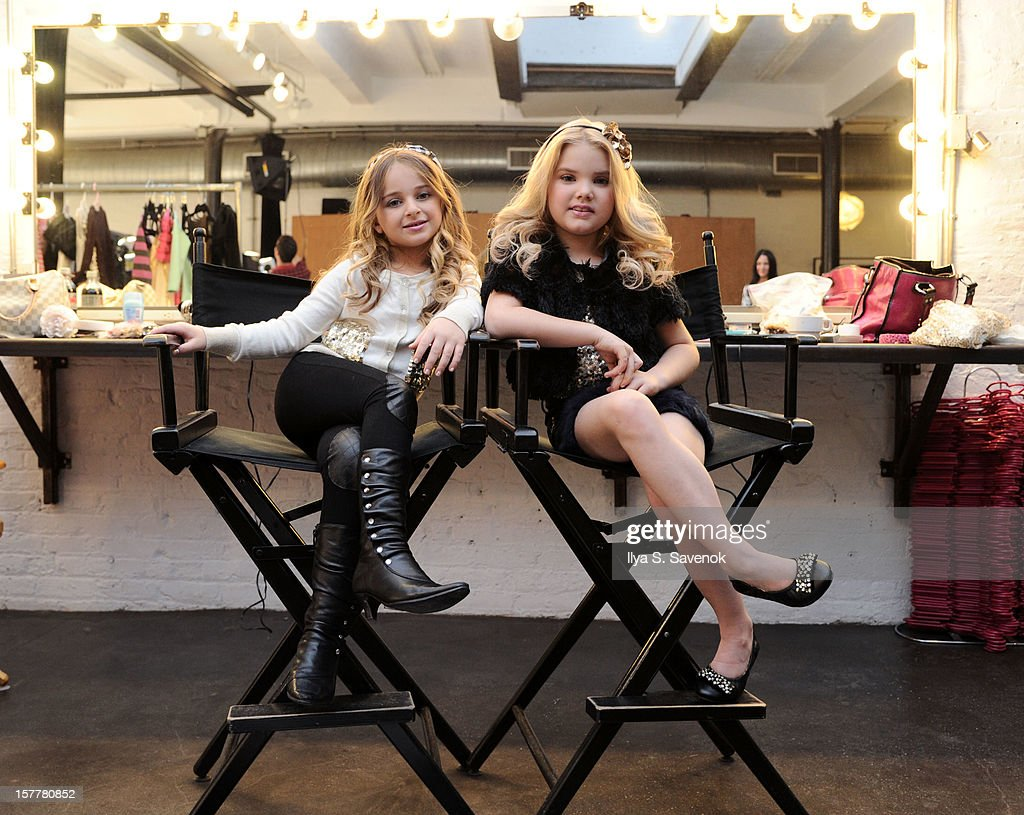 TV personalities Isabella Barrett (L) and Eden Wood backstage during Eden Wood and Isabella Barrett 'LOL' Music video shoot at Picture Ray Studios on December 6, 2012 in New York City.