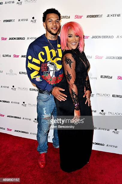 TV personalities Jacob Payne and Natalie Nunn attend Star Magazine's Hollywood Rocks Event with Jason Derulo at The Argyle on April 15 2015 in...