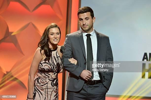 TV personalities Jade Roper and Tanner Tolbert onstage at the American Humane Association's 5th Annual Hero Dog Awards 2015 at The Beverly Hilton...