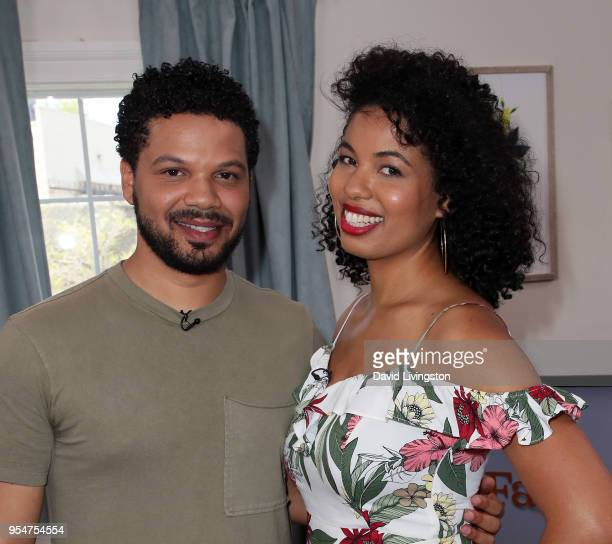 TV personalities Jake Smollett and Jazz SmollettWarwell visit Hallmark's Home Family at Universal Studios Hollywood on May 4 2018 in Universal City...