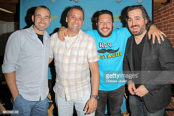 TV personalities James Murray Joseph Gatto Sal Vulcano and Brian Quinn of Impractical Jokers are seen during ComicCon International on July 10 2015...