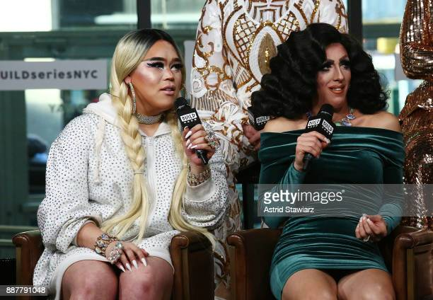 TV personalities Jasmine Rice LaBeija and Marti Gould Cummings discusse 'Shade Queens Of NYC' at Build Studio on December 7 2017 in New York City