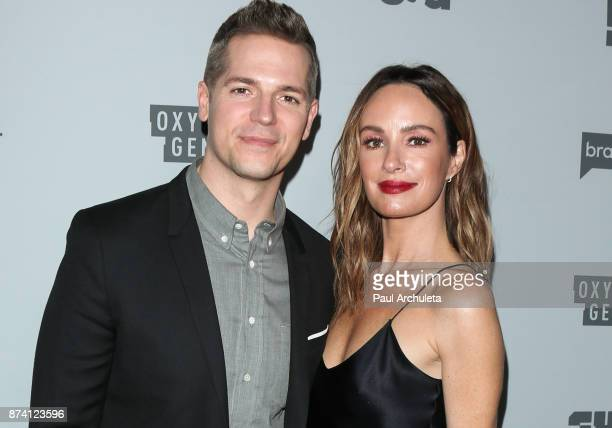 Personalities Jason Kennedy and Catt Sadler attend NBCUniversal's press junket at Beauty Essex on November 13 2017 in Los Angeles California