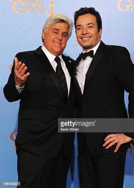 TV personalities Jay Leno and Jimmy Fallon pose in the press room during the 70th Annual Golden Globe Awards held at The Beverly Hilton Hotel on...