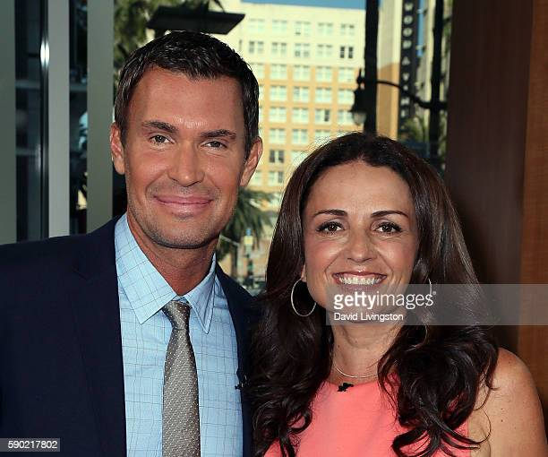 TV personalities Jeff Lewis and Jenni Pulos visit Hollywood Today Live at W Hollywood on August 16 2016 in Hollywood California