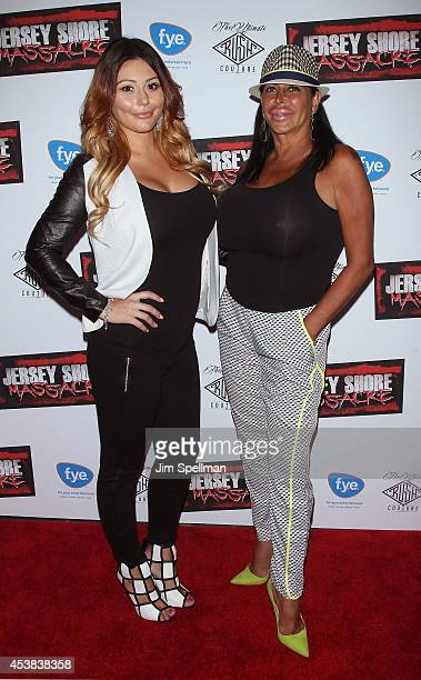 Personalities Jenni JWoww Farley and Angela Big Ang Raiola attend the Jersey Shore Massacre New York Premiere at AMC Lincoln Square Theater on August...