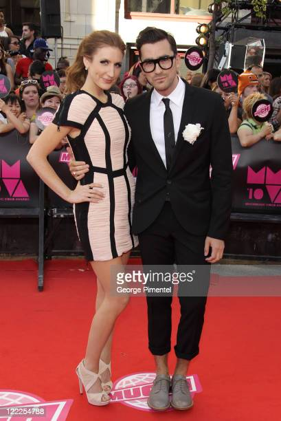 TV personalities Jesse Cruickshank and Dan Levy arrive on the red carpet of the 21st Annual MuchMusic Video Awards at the MuchMusic HQ on June 20...