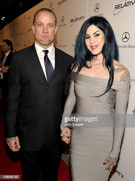 TV personalities Jesse James and Kat Von D arrive at the 2011 Art Of Elysium 'Heaven' Gala held at the California Science Center on January 15 2011...
