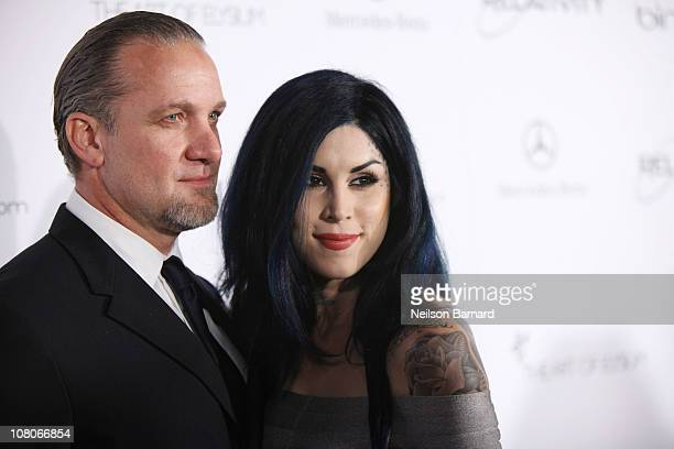 TV personalities Jesse James and Kat Von D attend the Art Of Elysium Heaven Gala 2011 at The California Science Center Exposition Park on January 15...