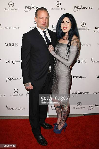 Personalities Jesse James and Kat Von D attend the Art Of Elysium Heaven Gala 2011 at The California Science Center Exposition Park on January 15...