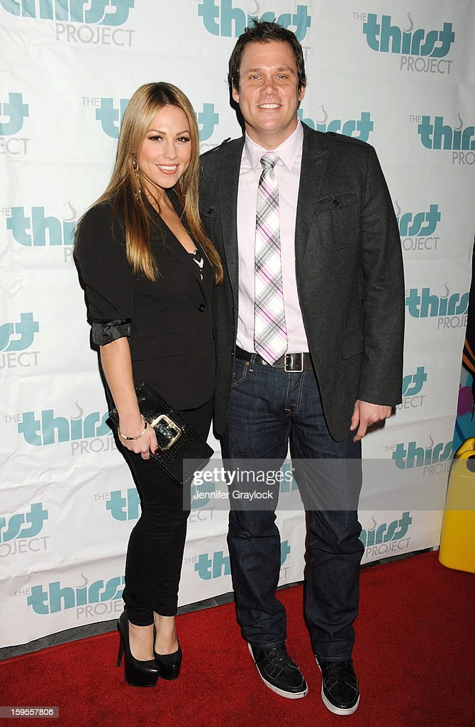 TV personalities Jessica Hall (L) and Bob Guiney attend the Thirst Project Charity Cocktail Party held at Lexington Social House on January 15, 2013 in Hollywood, California.