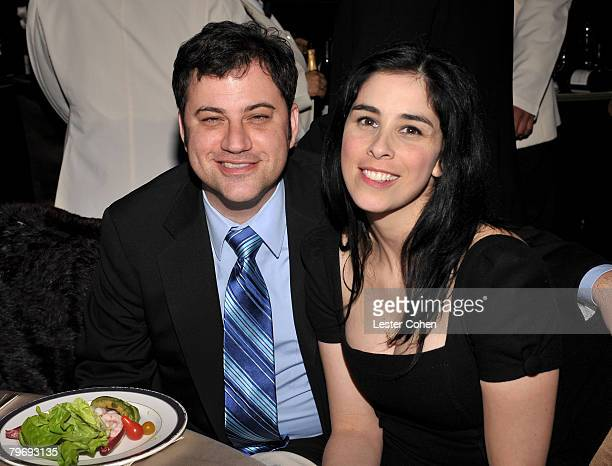 TV personalities Jimmy Kimmel and Sarah Silverman during the 2008 Clive Davis PreGRAMMY party at the Beverly Hilton Hotel on February 9 2008 in Los...