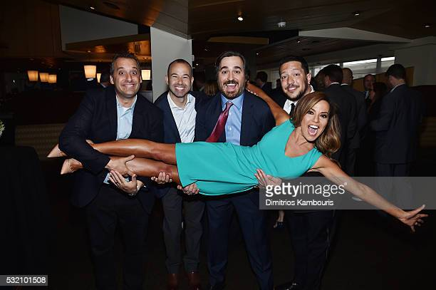 TV personalities Joe Gatto James Murray Brian Quinn Sal Vulcano and Robin Meade attend the Turner Upfront 2016 green room at The Theater at Madison...