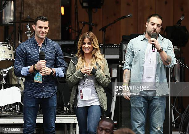 TV personalities John Colaneri Alison Victoria and Anthony Carrino speak onstage at the HGTV Lodge during Day 3 of the DirecTV Super Fan Festival at...