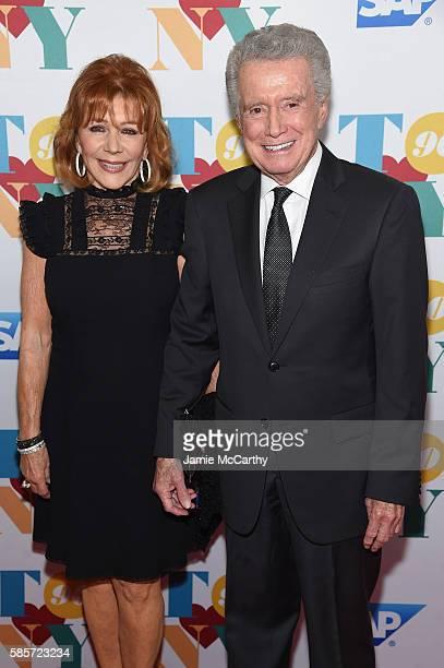 TV personalities Joy Philbin and Regis Philbin arrive for music legend Tony Bennett's 90th birthday celebration at The Rainbow Room on August 3 2016...