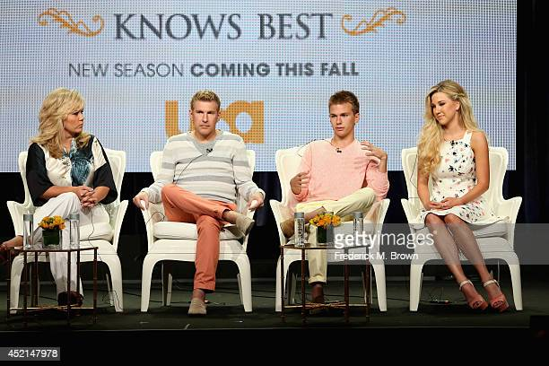 TV personalities Julie Chrisley Todd Chrisley Chase Chrisley and Savannah Chrisley speak onstage at the 'Chrisley Knows Best' panel during the...
