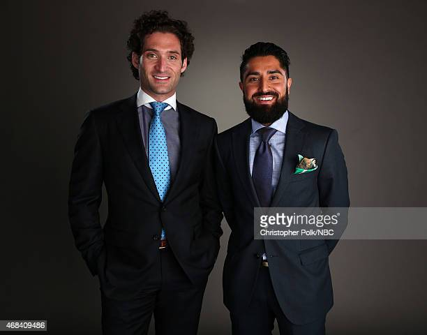 TV personalities Justin Fichelson and Roh Habibi pose for a portrait during the NBCUniversal Summer Press Day at The Langham Huntington Pasadena on...