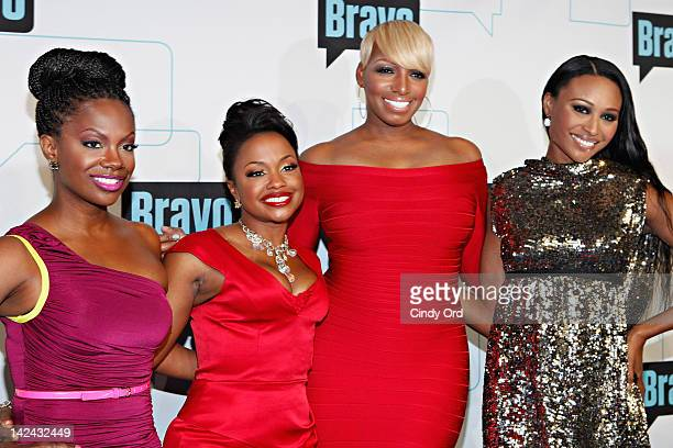 Personalities Kandi Burruss, Phaedra Parks, Nene Leakes, and Cynthia Bailey of the Real Housewives of Atlanta attends the Bravo Upfront 2012 at...