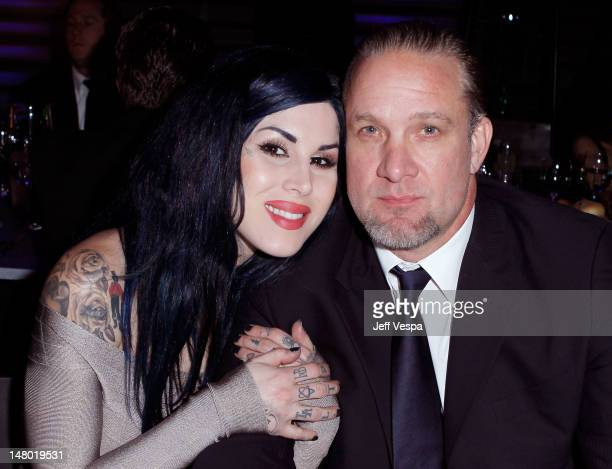 TV Personalities Kat Von D and Jesse James attends the 2011 Art Of Elysium Heaven Gala held at the California Science Center on January 15 2011 in...