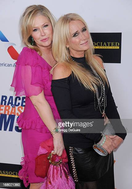 TV personalities Kathy Hilton and Kim Richards arrive at the 20th Annual Race To Erase MS Gala 'Love To Erase MS' at the Hyatt Regency Century Plaza...