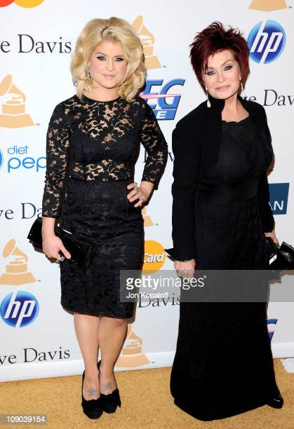 TV personalities Kelly Osbourne and Sharon Osbourne arrive at the 2011 PreGRAMMY Gala and Salute To Industry Icons Honoring David Geffen at Beverly...