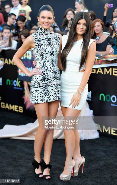 """Personalities Kendall and Kylie Jenner arrive to the premiere of Lionsgate's """"The Hunger Games"""" at Nokia Theatre L.A. Live on March 12, 2012 in Los..."""