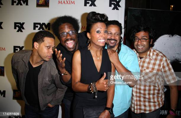 TV personalities Kevin Avery W Kamau Bell Aisha Tyler Dwayne Kennedy and Hari Kondabolu attend the Maxim FX and Home Entertainment ComicCon Party on...