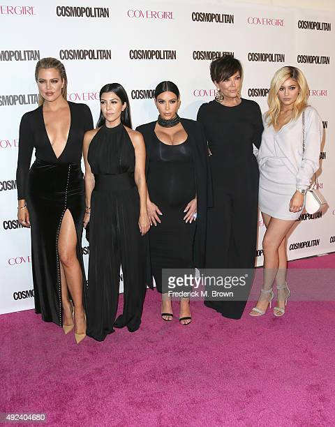 TV personalities Khloe Kardashian Kourtney Kardashian Kim Kardashian Kris Jenner and Kylie Jenner attend Cosmopolitan's 50th Birthday Celebration at...