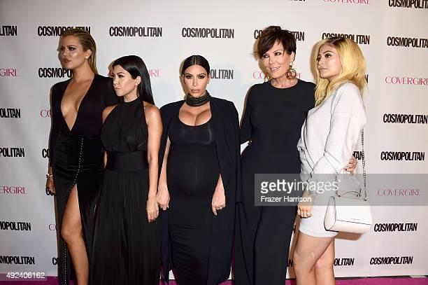 TV personalities Khloe Kardashian Kourtney Kardashian Kim Kardashian Kris Jenner and Kylie Jenner attend Cosmopolitan's 50th Birthday Celebration at...
