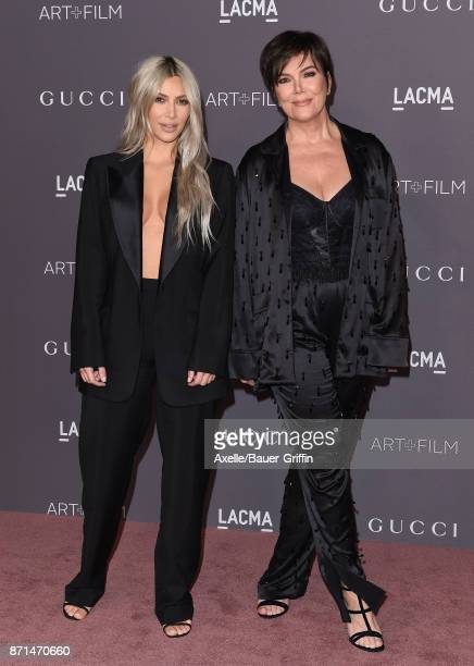 TV personalities Kim Kardashian and Kris Jenner arrive at the 2017 LACMA Art Film Gala at LACMA on November 4 2017 in Los Angeles California