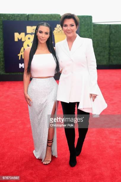 TV personalities Kim Kardashian and Kris Jenner attend the 2018 MTV Movie And TV Awards at Barker Hangar on June 16 2018 in Santa Monica California