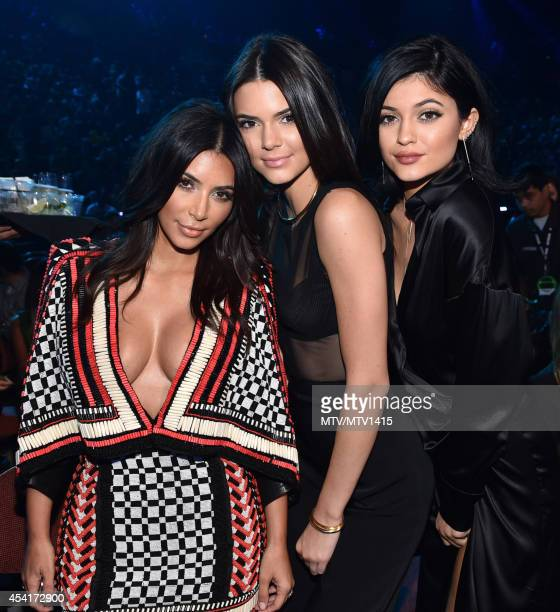 TV personalities Kim Kardashian Kendall Jenner and Kylie Jenner attend the 2014 MTV Video Music Awards at The Forum on August 24 2014 in Inglewood...