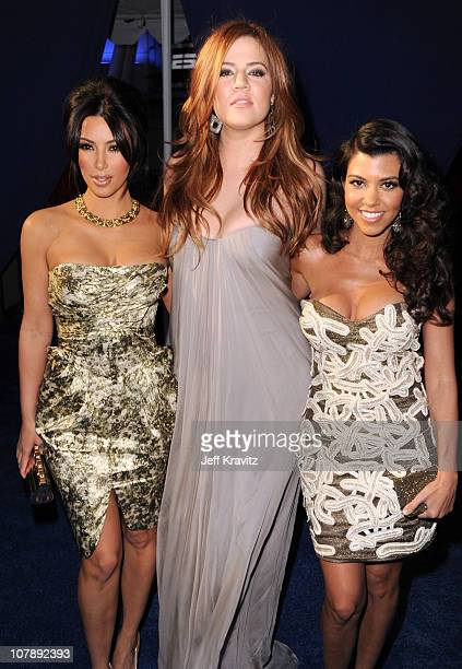 TV Personalities Kim Kardashian Khloe Kardashian and Kourtney Kardashian arrives at the 2011 People's Choice Awards at Nokia Theatre LA Live on...