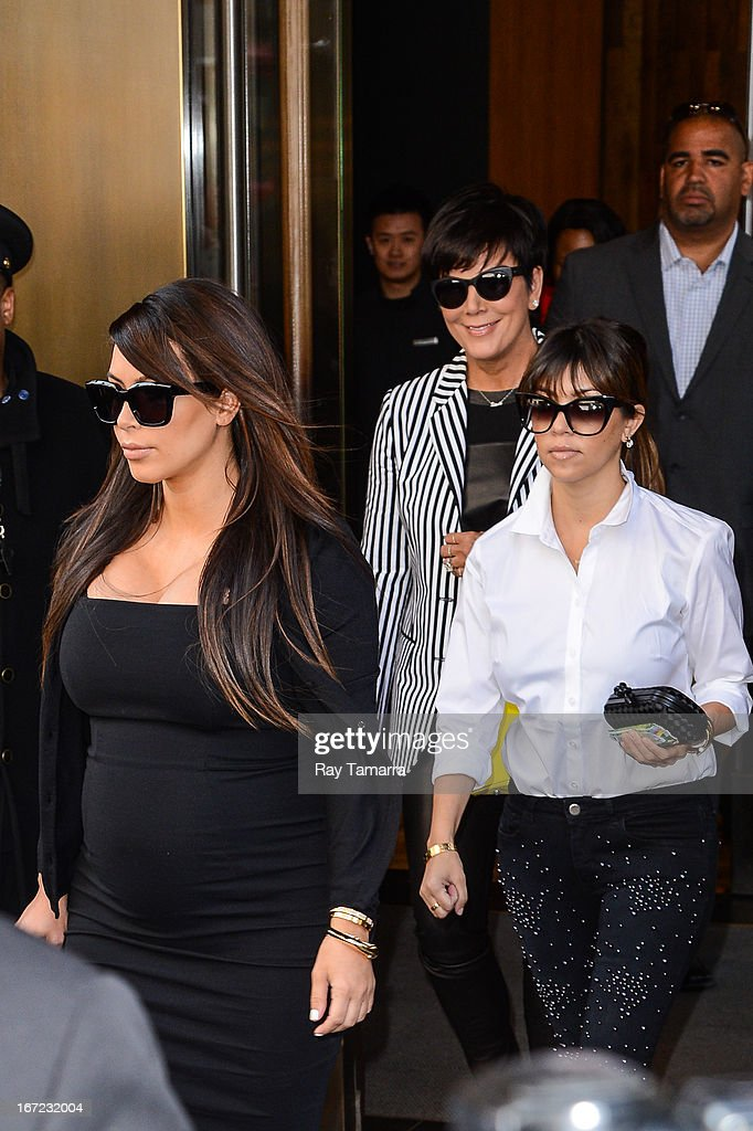TV personalities Kim Kardashian, Kris Jenner, and Kourtney Kardashian leave her Soho hotel on April 22, 2013 in New York City.