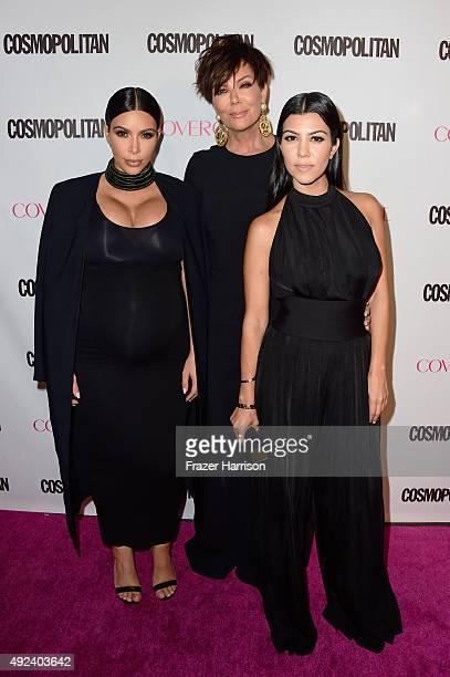 TV personalities Kim Kardashian Kris Jenner and Kourtney Kardashian attend Cosmopolitan's 50th Birthday Celebration at Ysabel on October 12 2015 in...