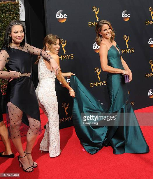 TV personalities Kit Hoover and Natalie Morales and guest attend the 68th Annual Primetime Emmy Awards at Microsoft Theater on September 18 2016 in...
