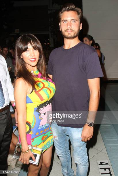 TV personalities Kourtney Kardashian and Scott Disick attend the Wildfox Swim Cruise 2014 show at Soho Beach House on July 21 2013 in Miami Beach...