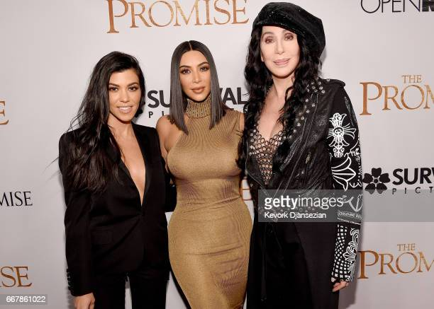 TV personalities Kourtney Kardashian Kim Kardashian West and actor/singer Cher attend the premiere of Open Road Films' 'The Promise' at TCL Chinese...