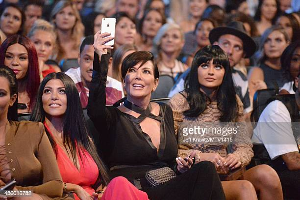 TV personalities Kourtney Kardashian Kris Jenner and Kylie Jenner during the 2015 MTV Video Music Awards at Microsoft Theater on August 30 2015 in...
