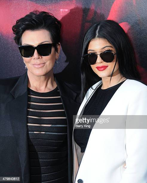 TV personalities Kris Jenner and daughter Kylie Jenner attend the Premiere Of New Line Cinema's 'The Gallows' at Hollywood High School on July 7 2015...