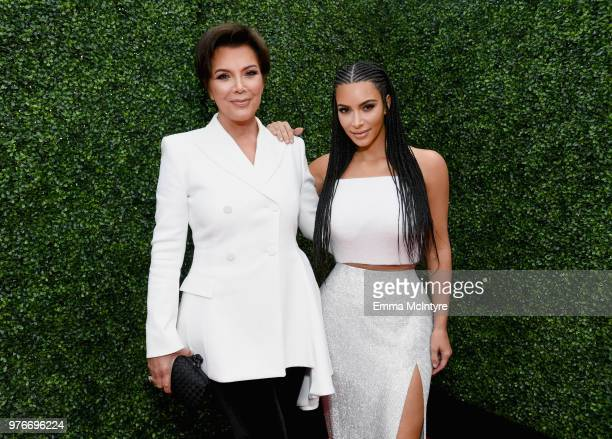 TV personalities Kris Jenner and Kim Kardashian attend the 2018 MTV Movie And TV Awards at Barker Hangar on June 16 2018 in Santa Monica California