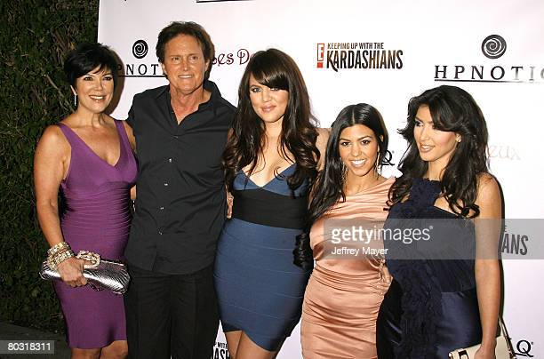 TV personalities Kris Jenner Bruce Jenner Khloe Kardahian Kourtney Kardashian and Kim Kardashian arrive to the season 2 launch party Keeping Up With...