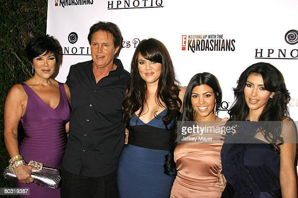 TV personalities Kris Jenner Bruce Jenner Khloe Kardashian Kourtney Kardashian and Kim Kardashian arrive to the season 2 launch party Keeping Up With...