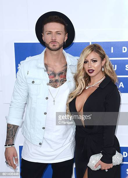 TV personalities Kyle Christie and Holly Hagan attend the 2016 MTV Video Music Awards at Madison Square Garden on August 28 2016 in New York City