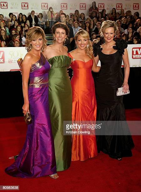 Personalities Kylie Gillies, Natalie Barr, Monique Wright, and Melissa Doyle arrive on the red carpet at the 50th Annual TV Week Logie Awards at the...