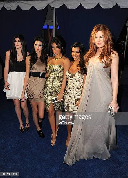TV personalities Kylie Jenner Kendall Jenner Kim Kardashian Kourtney Kardashian and Khloe Kardashian arrive at the 2011 People's Choice Awards at...