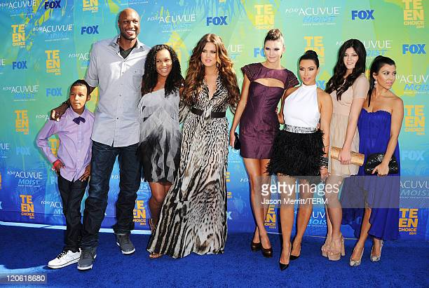 TV personalities Lamar Jr Lamar Odom daughter Destiny Khloe Kardashian Kendall Jenner Kim Kardashian Kylie Jenner and Kourtney Kardashian arrive at...