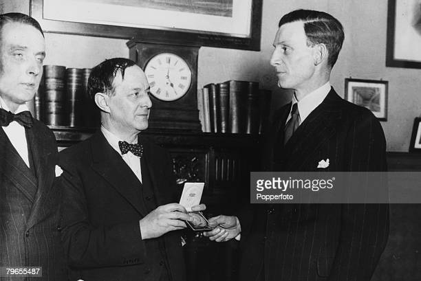 Personalities, Literature, pic: February 1931, English poet and novelist Siegfried Sassoon, right, presented with the Royal Society of Literature AC,...